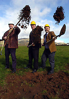 NEW HOSPITAL FOR DINGLE<br /> Dr Liam Twomey, Fine Gael Spokesperson on Health,  lent his support for the proposed new Dingle Hospital and is photographed on the site for the new building with local Cllr Seamus Cosai Fitzgerald, left, and Cllr Johnny Porridge O'Connor.<br /> Picture: Eamonn Keogh (MacMonagle, Killarney)