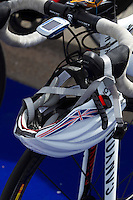 01 SEP 2013 - SARTROUVILLE, FRA - Lucy Hall's bike and bike helmet stand racked in transition during the women's Grand Prix de Triathlon de Sartrouville in Sartrouville in France (PHOTO COPYRIGHT © 2013 NIGEL FARROW, ALL RIGHTS RESERVED)