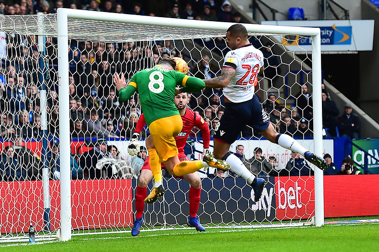 Preston North End's Alan Browne heads at goal <br /> <br /> Photographer Richard Martin-Roberts/CameraSport<br /> <br /> The EFL Sky Bet Championship - Bolton Wanderers v Preston North End - Saturday 9th February 2019 - University of Bolton Stadium - Bolton<br /> <br /> World Copyright &copy; 2019 CameraSport. All rights reserved. 43 Linden Ave. Countesthorpe. Leicester. England. LE8 5PG - Tel: +44 (0) 116 277 4147 - admin@camerasport.com - www.camerasport.com