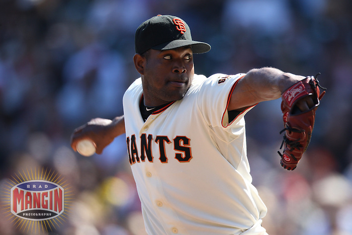 SAN FRANCISCO - SEPTEMBER 30:  Santiago Casilla #46 of the San Francisco Giants pitches against the Arizona Diamondbacks during the game at AT&T Park on September 30, 2010 in San Francisco, California. Photo by Brad Mangin