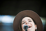 Of Monsters and Men singer Nanna Bryndis Hilmarsdottir performs on the second stage during the KROQ Weenie Roast y Fiesta Saturday in Irvine, CA.