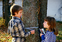 STUDENT BOTANISTS MEASURING A TREE