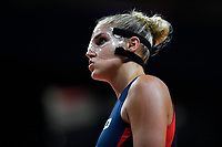 Washington, DC - July 30, 2019: Washington Mystics forward Elena Delle Donne (11) stretches out her face while adjusting her protective mask during first half action of game between the Phoenix Mercury and Washington Mystics at the Entertainment & Sports Arena in Washington, DC. (Photo by Phil Peters/Media Images International)