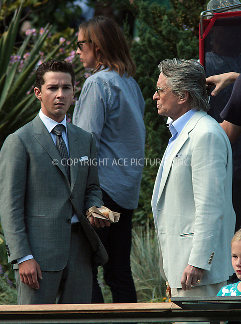 WWW.ACEPIXS.COM . . . . .  ....October 7 2009, New York City....Actors Shia LeBeouf and Michael Douglas on the Central Park Zoo set of the new movie 'Wall Street 2' on October 7 2009 in New York City....Please byline: AJ Sokalner - ACEPIXS.COM..... *** ***..Ace Pictures, Inc:  ..tel: (212) 243 8787..e-mail: info@acepixs.com..web: http://www.acepixs.com