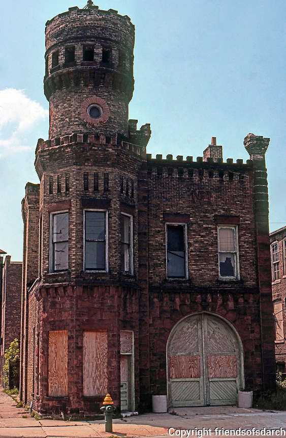 Racine:  Firehouse, castellated Gothic.  Photo '77.