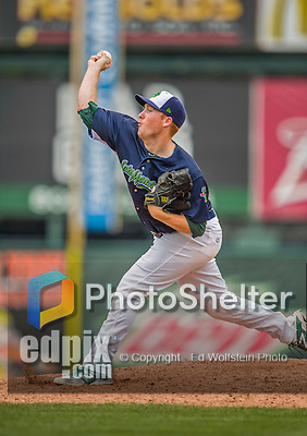 9 July 2015: Vermont Lake Monsters pitcher Corey Miller on the mound against the Mahoning Valley Scrappers at Centennial Field in Burlington, Vermont. The Lake Monsters rallied to tie the game 4-4 in the bottom of the 9th, but fell to the Scrappers 8-4 in 12 innings of NY Penn League play. Mandatory Credit: Ed Wolfstein Photo *** RAW Image File Available ****