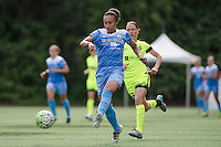 Seattle, WA - Sunday, May 22, 2016: Chicago Red Stars defender Samantha Johnson (16) passes the ball during a regular season National Women's Soccer League (NWSL) match at Memorial Stadium. Chicago Red Stars won 2-1.
