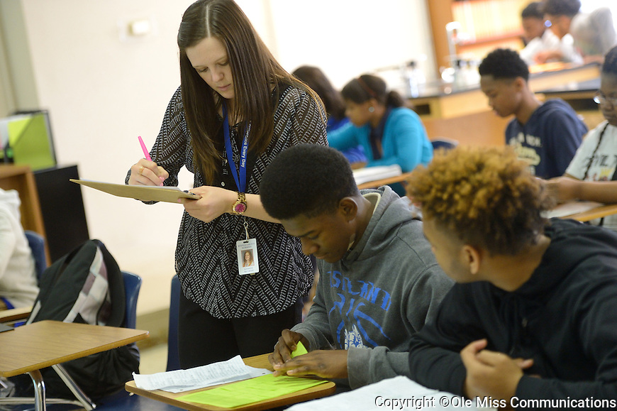 Mississippi Teacher Corps teacher KC McCarthy working at Ashland High.  Photo by Kevin Bain/Ole Miss Communications