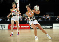 27.08.2016 South Africa'sLindie Lombard in action during the Netball Quad Series match between South Africa and Australia at Vector Arena in Auckland. Mandatory Photo Credit ©Michael Bradley.