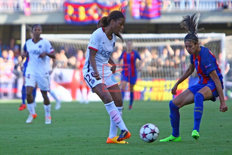 UEFA Women's Champions League 2016/2017.<br /> Semifinals.<br /> FC Barcelona vs Paris Saint Germain: 1-3.<br /> Grace Geyoro vs Leila Ouahabi.