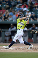 Second baseman Chandler Avant (3) of the Columbia Fireflies bats in a game against the Charleston RiverDogs on Saturday, April 6, 2019, at Segra Park in Columbia, South Carolina. Columbia won, 3-2. (Tom Priddy/Four Seam Images)