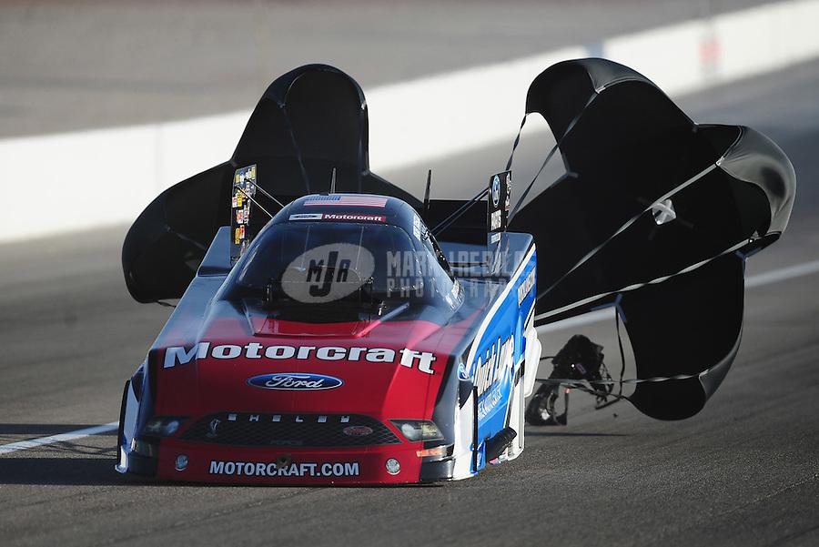 Mar. 31, 2012; Las Vegas, NV, USA: NHRA funny car driver Bob Tasca III during qualifying for the Summitracing.com Nationals at The Strip in Las Vegas. Mandatory Credit: Mark J. Rebilas-