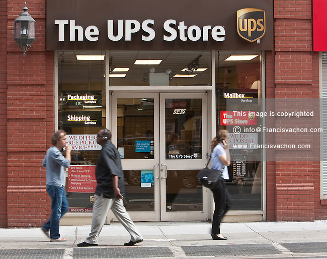 A The UPS Store store is pictured in New York City, NY Thursday August 4, 2011. United Parcel Service, Inc. (NYSE: UPS), typically referred to by the acronym UPS, is a package delivery company.