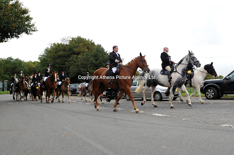 """Pictured: Funeral cortege arrives at Maragam Crematorium in Port Talbot, Wales, UK. Monday 08 October 218<br /> Re: A grieving father will mourners on horseback at the funeral of his """"wonderful"""" son who killed himself after being bullied at school.<br /> Talented young horse rider Bradley John, 14, was found hanged in the school toilets by his younger sister Danielle.<br /> Their father, farmer Byron John, 53, asked the local riding community to wear their smart hunting gear at Bradley's funeral.<br /> Police are investigating Bradley's death at the 500-pupils St John Lloyd Roman Catholic school in Llanelli, South Wales.<br /> Bradley's family claim he had been bullied for two years after being diagnosed with Attention Deficit Hyperactivity Disorder.<br /> He went missing during lessons and was found in the toilet cubicle by his sister Danielle, 12."""
