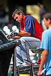 12 March 2009: Washington Nationals' third baseman Ryan Zimmerman inspects his bat prior to a Spring Training game against the Atlanta Braves at Disney's Wide World of Sports in Orlando, Florida. The Braves defeated the Nationals 6-2 in the Grapefruit League matchup. Mandatory Photo Credit: Ed Wolfstein Photo