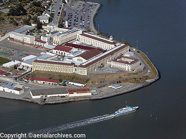 aerial photograph San Quentin prison, Marin County, California