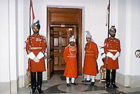 Ceremonial guards at Rashtrapati Bhavan, Presidential House, in New Delhi, India