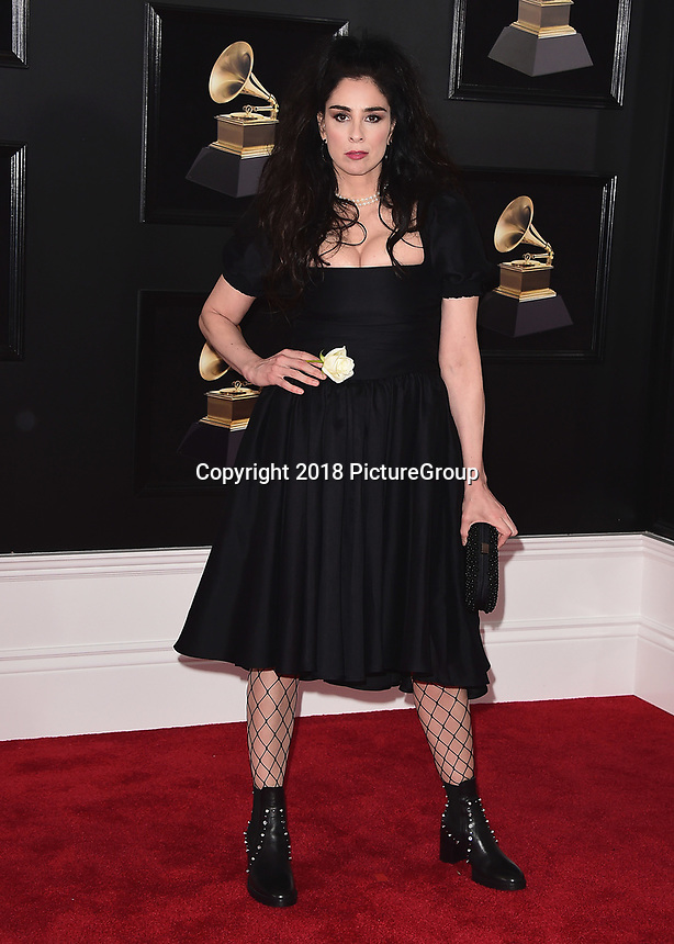 NEW YORK - JANUARY 28:  Sarah Silverman at the 60th Annual Grammy Awards at Madison Square Garden on January 28, 2018 in New York City. (Photo by Scott Kirkland/PictureGroup)