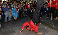 Pictured: Saturday 17 September 2016<br /> Re: Roald Dahl&rsquo;s City of the Unexpected has transformed Cardiff City Centre into a landmark celebration of Wales&rsquo; foremost storyteller, Roald Dahl, in the year which celebrates his centenary. <br /> The Polar Explorer flash mob near to The Hayes, Cardiff City, Centre.