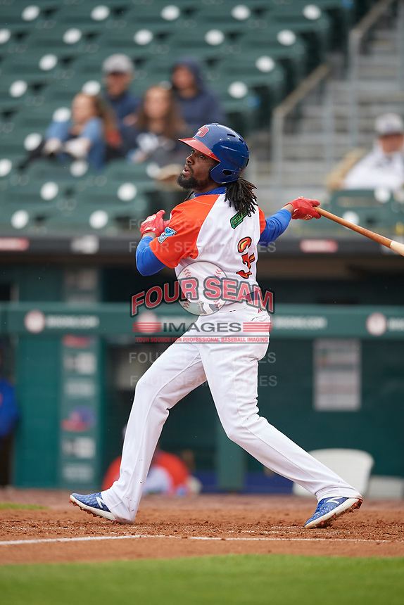 """Buffalo Bisons Alen Hanson (31) at bat during an International League game against the Scranton/Wilkes-Barre RailRiders on June 5, 2019 at Sahlen Field in Buffalo, New York.  The Bisons wore special uniforms as they played under the name the """"Buffalo Wings"""". Scranton defeated Buffalo 3-0, the first game of a doubleheader. (Mike Janes/Four Seam Images)"""