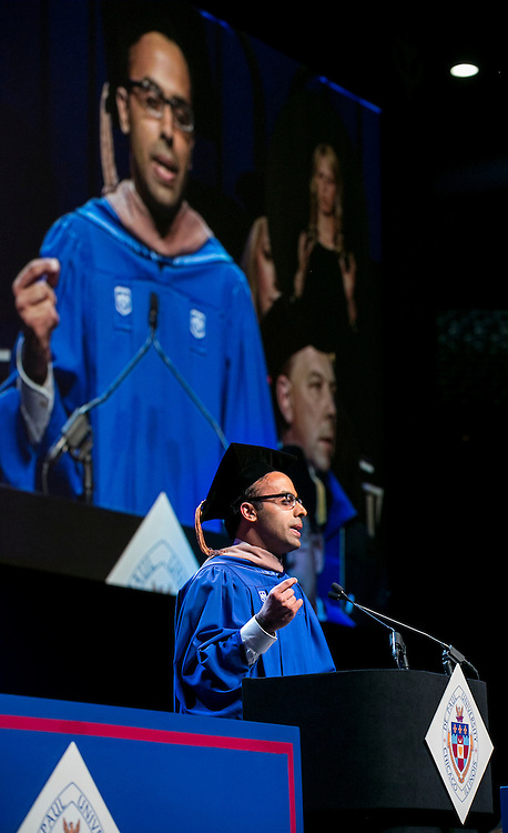 Ahmed Dhorajiwala, student speaker, delivers the student address at DePaul University's Driehaus College of Business commencement ceremony Sunday, June 12, 2016, at the Allstate Arena in Rosemont, IL, where some 1,400 students received their degrees. The Rev. Dennis H. Holtschneider, C.M., president of DePaul, conferred the degrees. Kathy N. Waller, executive vice president and chief financial officer, The Coca-Cola Company, addressed the graduating class and received an honorary degree. Joseph A. McInerney, hospitality industry leader and author, also received an honorary degree. (DePaul University/Jamie Moncrief)