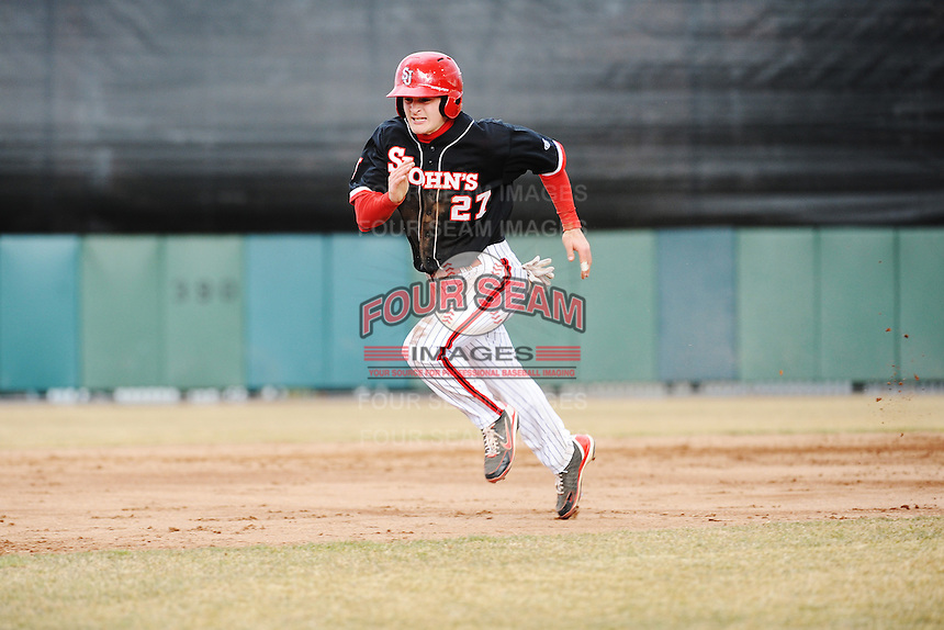 St. John's Redstorm infielder Dustin Breshears (27) during 2nd game of double header against the University of Cincinnati Bearcats at Jack Kaiser Stadium on March 28, 2013 in Queens, New York. Cincinnati defeated St. John's 6-5.      . (Tomasso DeRosa/ Four Seam Images)