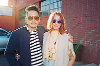 Glenn Kaino and Corey Lynn Calter attend Korakrit Arunanondchai's Letters to Chantri #1 Reception at The Mistake Room.
