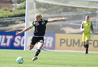 Leslie Osborne sends the ball down the field. .FC Gold Pride defeated the Boston Breakers 2-1 at Buck Shaw Stadium in Santa Clara, California on April 5th, 2009.