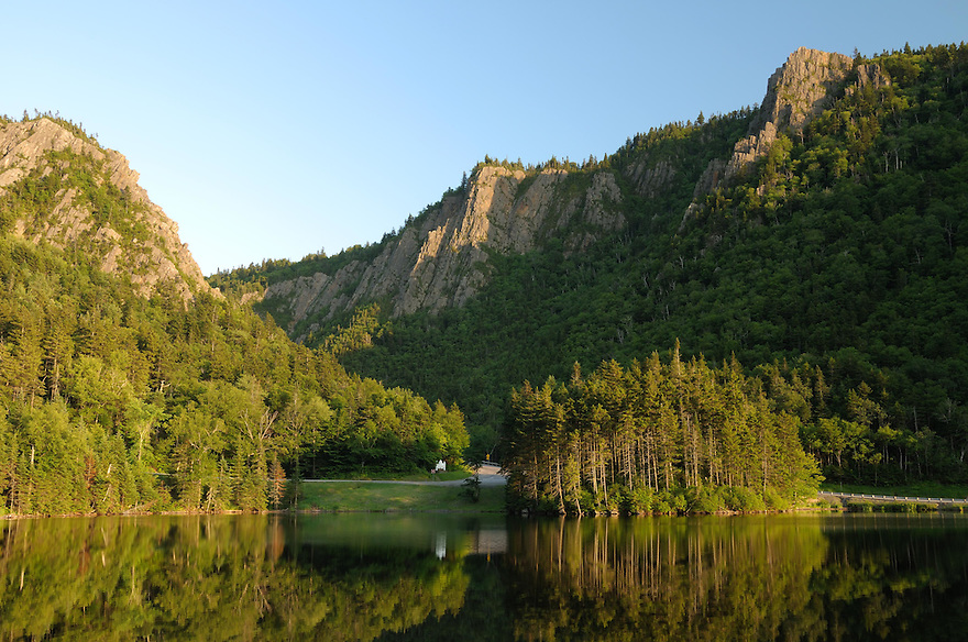 Dixville Notch from across Lake Gloriette.