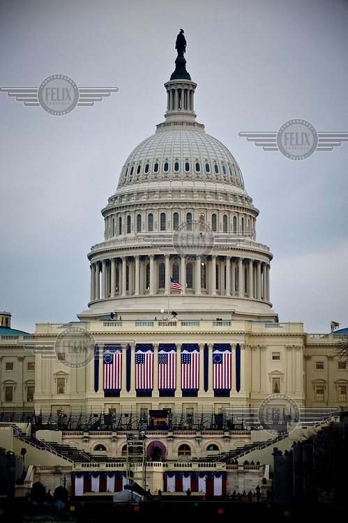 The United States Capitol is bedecked in flags ahead of the inauguration of Barack Obama as the 44th President of the United States.