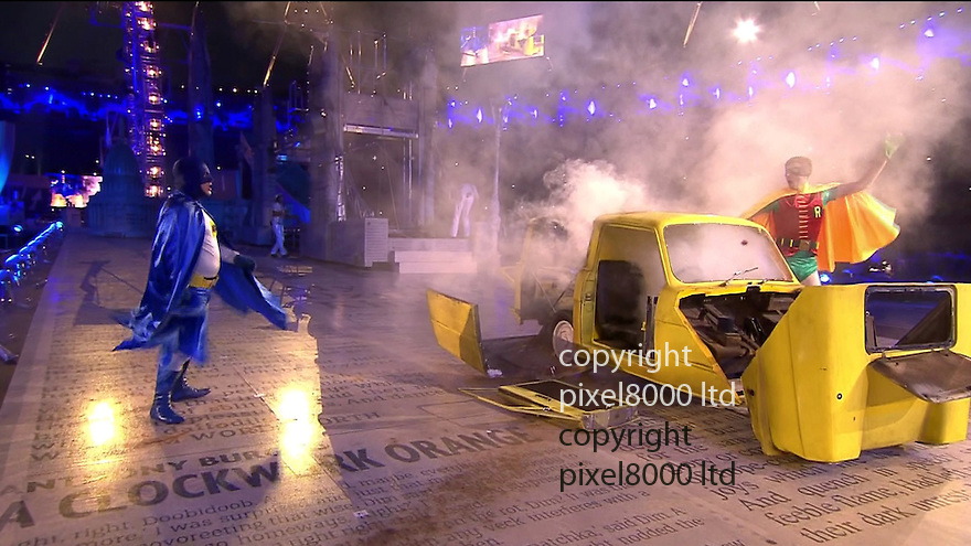 Olympics 2012 - BBC Coverage.Closing ceremony.Del Boy and Rodney Trotter in  Robin Reliant in spoof on Italian Job  - I only told you to blow the bloody doors off.....Picture by Pixel8000 07917221968