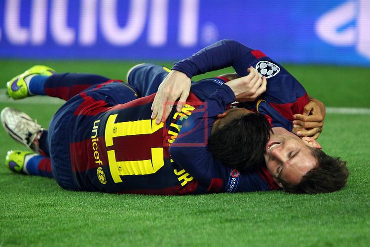 UEFA Champions League 2014/2015. <br /> Semi-finals 1st leg.<br /> FC Barcelona vs FC Bayern Munchen: 3-0.<br /> Neymar &amp; Lionel Messi.