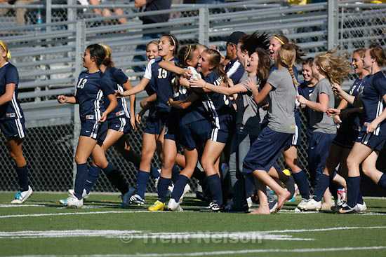 Trent Nelson  |  The Salt Lake Tribune.Bonneville players celebrate after defeating East high school 1-0, 4A girls' soccer state championships semifinals at Juan Diego High School Tuesday, October 19, 2010