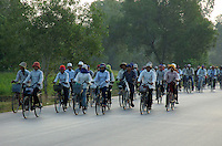 WORKERS,BICYCLE, EARLY MORNING ON THE ROAD