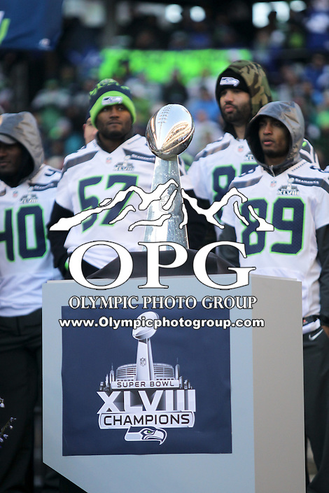 2014-02-05:  The Superbowl trophy was on display at Centurty Link Field. The Seattle Seahawks players and 12th man fans celebrated bringing the Lombardi trophy home to Seattle during the Super Bowl Parade at Century Link Field in Seattle, WA.