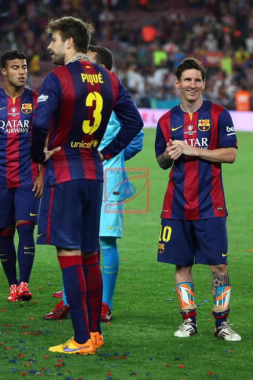 Final Campeonato de Espa&ntilde;a-Copa S.M. El Rey<br /> Athletic Club vs FC Barcelona: 1-3.<br /> Gerard Pique &amp; Lionel Messi.