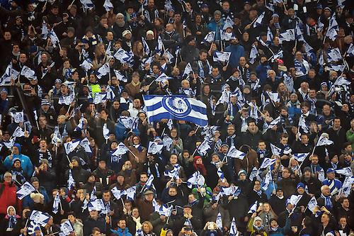 17.02.2016. Gent, Belgium. UEFA Champions League football. KAA Gent versus VfL Wolfsburg.  Supporters of KAA Gent
