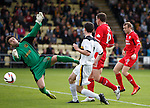 Calum Elliot latches onto the cross ball to score the opening goal for Raith Rovers past Dumbarton keeper Jamie Ewings