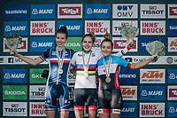 WOMEN JUNIOR ROAD RACE podium: <br /> 1 &ndash; Laura Stigger (AUT)<br /> 2 &ndash; Marie Le Net (FRA)<br /> 3 &ndash; Simone Boilard (CAN)<br /> <br /> Rattenberg to Innsbruck: 71.7 km<br /> <br /> UCI 2018 Road World Championships<br /> Innsbruck - Tirol / Austria