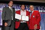 30 May 2012: 2012 Inductee Tony Meola with presenter Sal Rosamilia (left) and Hall of Famer Hank Steinbrecher (right). The 2012 National Soccer Hall of Fame Induction Ceremony was held at Fedex Field in Landover, Maryland before a men's international friendly soccer match between the United States and Brazil.
