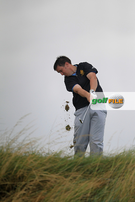 Paul O'Hara (Kilkenny) on the 16th tee during the South of Ireland Amateur Open Championship Final at Lahinch Golf Club  31th July 2013 <br /> Picture:  Thos Caffrey / www.golffile.ie
