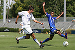 04 September 2011: Duke's Christopher Tweed-Kent (19) and SMU's Ryan Brown (right). The Southern Methodist University Mustangs defeated the Duke University Blue Devils 1-0 in overtime at Koskinen Stadium in Durham, North Carolina in an NCAA Division I Men's Soccer game.
