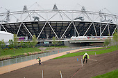 Landscaping work in the London 2012 Olympic Park.