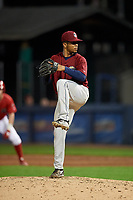 Mahoning Valley Scrappers relief pitcher Francisco Lopez (38) delivers a pitch during a game against the Williamsport Crosscutters on August 28, 2018 at BB&T Ballpark in Williamsport, Pennsylvania.  Williamsport defeated Mahoning Valley 8-0.  (Mike Janes/Four Seam Images)