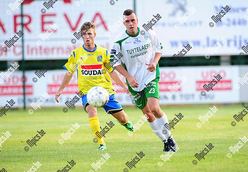 2014-07-02 / Voetbal / seizoen 2014-2015 / Dessel Sport - KVC Westerlo / Michiel Jaeken (l. Westerlo) met Ronnie Reniers<br /><br />Foto: mpics.be