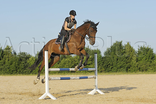 23 06 2012. Germany. Horsewoman wearing a Safety vest while showjumping at an Equestrian sports event. Model Released