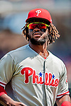 23 August 2018: Philadelphia Phillies outfielder Odubel Herrera returns to the dugout during a game against the Washington Nationals at Nationals Park in Washington, DC. The Phillies shut out the Nationals 2-0 to take the 3rd game of their 3-game mid-week divisional series. Mandatory Credit: Ed Wolfstein Photo *** RAW (NEF) Image File Available ***