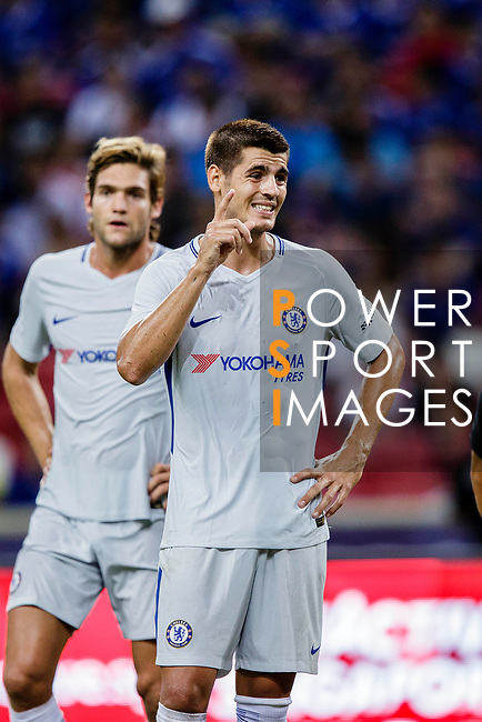 Chelsea Forward Alvaro Morata gestures during the International Champions Cup 2017 match between FC Internazionale and Chelsea FC on July 29, 2017 in Singapore. Photo by Marcio Rodrigo Machado / Power Sport Images