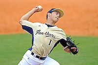 4 March 2012:  FIU pitcher Jose Lazaro (1) pitches in the ninth inning as the FIU Golden Panthers defeated the Brown University Bears, 8-3, at University Park Stadium in Miami, Florida.