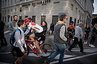 Peter Stetina (USA/Trek-Segafredo) at the race start in Bergamo<br /> <br /> 113th Il Lombardia 2019 (1.UWT)<br /> 1 day race from Bergamo to Como (ITA/243km)<br /> <br /> ©kramon